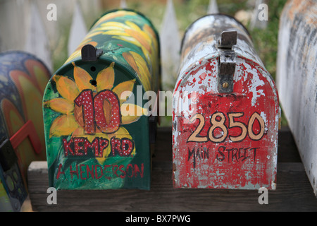 Mailboxes, Madrid, former mining town in the Ortiz Mountains inhabited by artists and bikers, Turquoise Trail, New - Stock Photo
