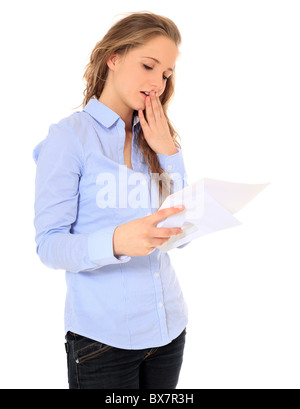 Portrait of an attractive young girl getting bad news. All on white background. - Stock Photo
