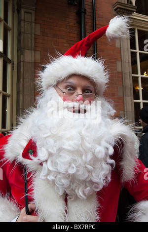 LONDON, ENGLAND - Santacon London 2010, portrait of traditional Santa - Stock Photo