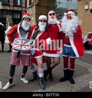 LONDON, ENGLAND - Santacon London 2010 - Stock Photo