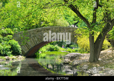 Gapstow Bridge over The Pond at Central Park in New York City - Stock Photo