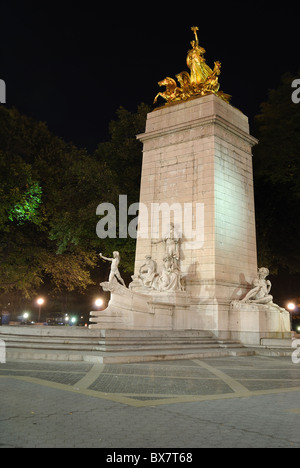 The USS Maine Monument at the southwest corner of Central Park in New York City. - Stock Photo