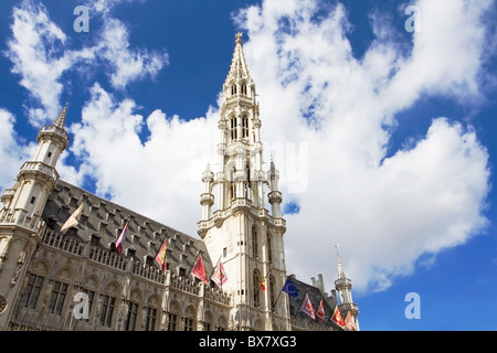 Town Hall in Grand Place, Brussels - Stock Photo