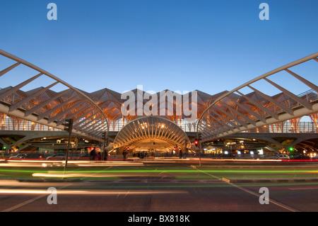 Train and metro station Gare do Oriente Lisbon Portugal Europe - Stock Photo