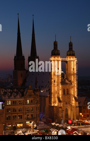 Market church in Halle (Saale) at Christmas time; Marktkirche in Halle - Stock Photo