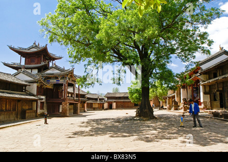 Three Terraced Pavilion on Sideng Street, Shaxi, Jiangsu, China - Stock Photo