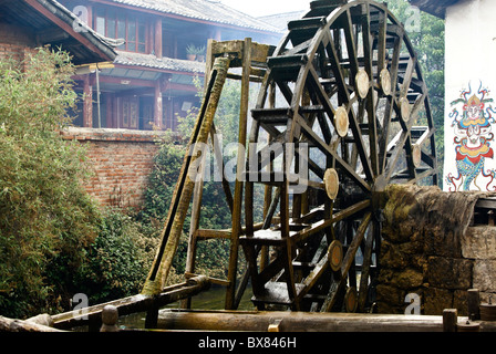 Water wheel in Lijiang's old town (Dayan), Yunnan, China - Stock Photo