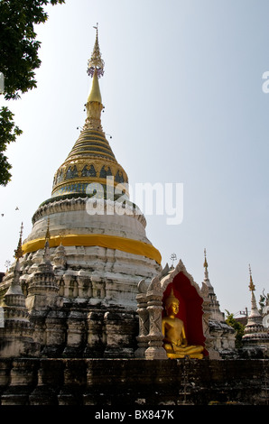 Wat Bupparam in Chiang Mai in Thailand. - Stock Photo