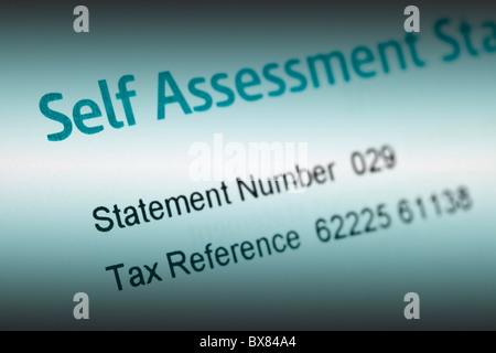 UK tax hm revenue & customs self assessment statement - Stock Photo