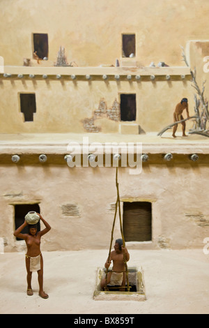 Diorama depicting Chacoan life at the Chaco Culture National Historical Park, New Mexico, USA. - Stock Photo