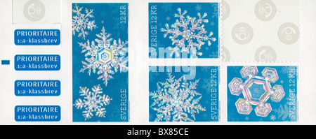 Sheet of unsused Christmas stamps from Sweden, 2010 - Stock Photo