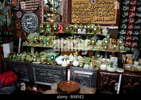 Onyx gemstone crafts and wall hangings and other handicrafts on display at Murree,Pakistan - Stock Photo