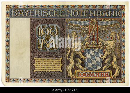 money / finance, banknotes, Germany, 100 Mark, Bavarian Central bank, Munich, 1.1.1922, Additional-Rights-Clearences - Stock Photo