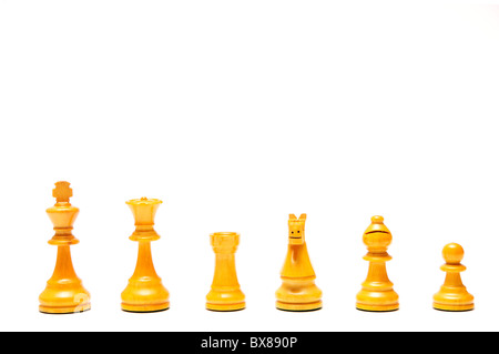 chess pieces isolated, white set - Stock Photo