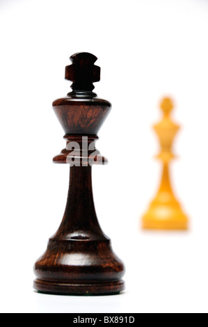 two chess kings facing each other - Stock Photo