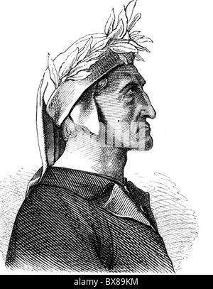 Dante Alighieri, 1265 - 14.9.1321, Italian author / writer, portrait, wood engraving, 19th century, Additional-Rights - Stock Photo