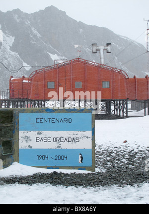 Orcadas polar research station (Argentina), Laurie Island, South Orkney Islands, Antarctica - Stock Photo