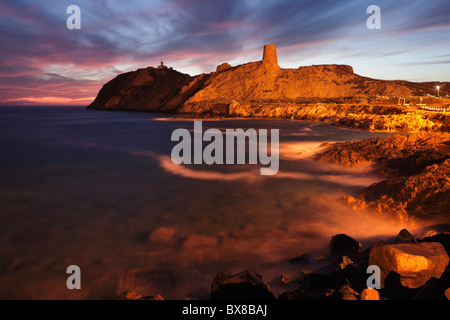 La Pietra Island with the lighthouse Phare de la Pietra and Genoese watch tower, L'Ile-Rousse, Balagne, Corsica, - Stock Photo