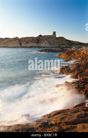 La Pietra Island with the Genoese tower, L'Ile-Rousse, Balagne, Corsica, France - Stock Photo