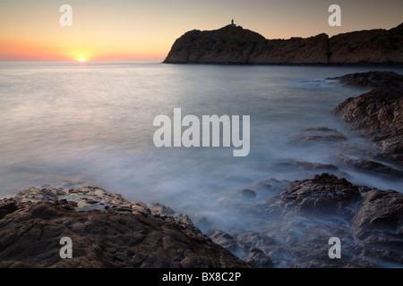 La Pietra Island with the lighthouse Phare de la Pietra, L'Ile-Rousse, Balagne, Corsica, France - Stock Photo