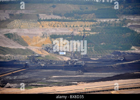 Open cast coal mining near Aachen in Germany on a huge scale using colossal Krupp Bagger bucket wheel excavators - Stock Photo