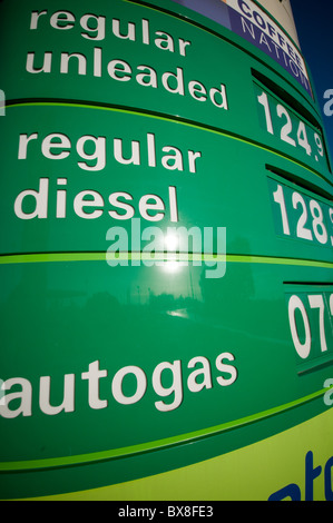 high fuel prices in the uk petrol diesel cost costs running tax taxation duty bp british petroleum gas station filling - Stock Photo