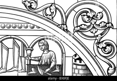 people, professions, shoemaker, glass painting, 13th century, wood engraving, 19th century, shoes, boots, handcraft, - Stock Photo