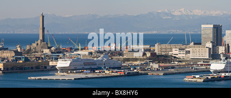 Panorama of port of Genoa with the lanterna, the lighthouse that is the symbol of the town - Stock Photo