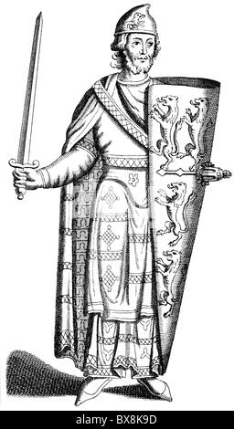 Geoffrey V 'Plantagenet', 23.8.1113 - 7.9.1151, Count of Anjou 1129 - 7.9.1151, full length, wood engraving, 19th - Stock Photo