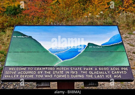Informational Sign and Autumn Color in Crawford Notch in the White Mountains National Forest in Carroll County, - Stock Photo