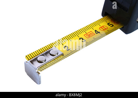 Yellow Retractable Steel Tape measure on white background - Stock Photo