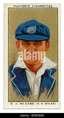 1934 cigarette card with portrait of cricket player of Stan (Stanley Joseph) McCabe of NSW and Australia - Stock Photo