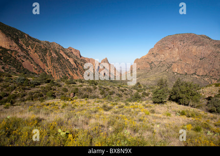 Big Bend National Park, Texas - The Window, a gap in the Chisos Mountains which drops away to the Chihuahuan Desert - Stock Photo