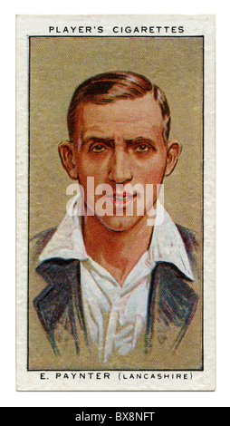 1934 cigarette card with portrait of cricket player of Eddie Paynter of Lancashire and England - Stock Photo