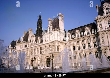 Water Fountains Outside The Hotel De Ville Paris France