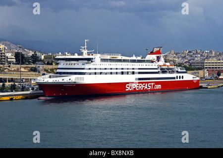 Superfast Ferries passenger car ferry Superfast XI in Piraeus harbour Greece - Stock Photo