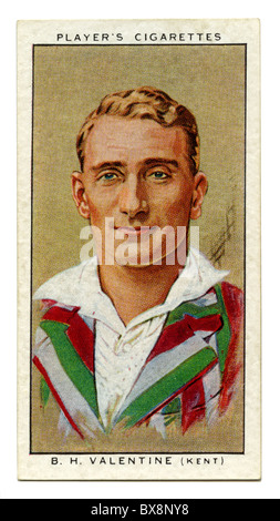1934 cigarette card with portrait of cricket player of Brian Valentine of Kent and England - Stock Photo