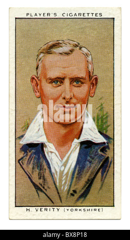 1934 cigarette card with portrait of cricket player of Hedley Verity of Yorkshire and England - Stock Photo
