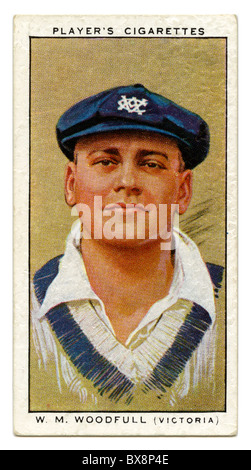 1934 cigarette card with portrait of cricket player of Bill Woodfull of Victoria and Australia - Stock Photo