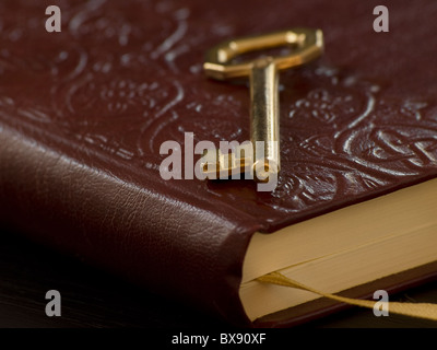 golden key on the diary, closeup and shallow DOF,for security,access, or secret themes - Stock Photo