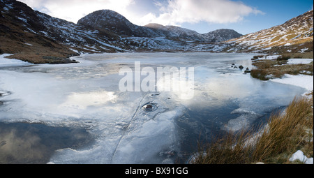 Panoramic view of frozen Styhead tarn, Lake district, Cumbria - Stock Photo