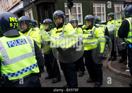 A phalanx of police officers, numbering in excess of 1,400, equipped with riot gear and security dogs, kept a rally - Stock Photo