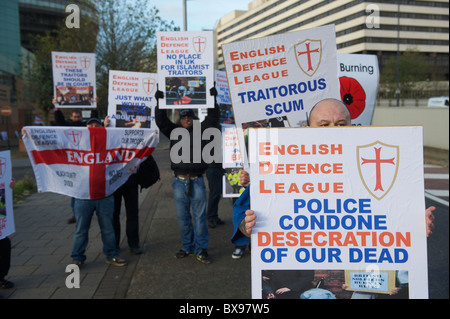 English Defence League (EDL) supporters gather in support of leader Tommy Robinson, also known as Stephen Lennon, - Stock Photo