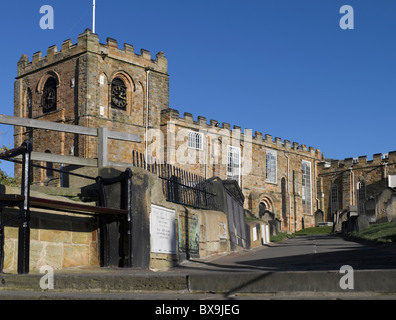 St Marys Church and graveyard East Cliff Whitby North Yorkshire England UK United Kingdom GB Great Britain - Stock Photo