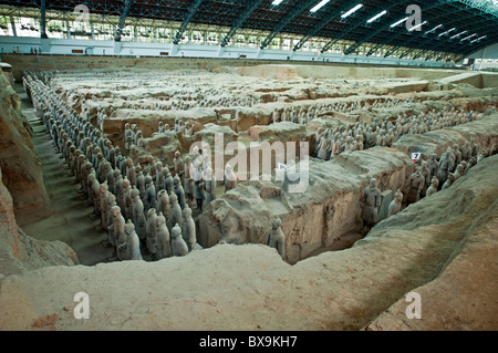 Terracotta Army, an ancient collection of sculptures depicting armies of Qin Shi Huang, the First Emperor of China, - Stock Photo