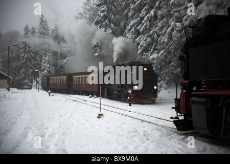 Steam locomotives passing at Schierke in the Harz Mountains-1 - Stock Photo