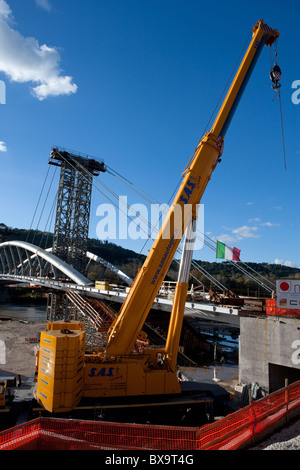 Bridge Modern upright construction over tiber river Rome Italy large big crane cranes huge work working progress - Stock Photo