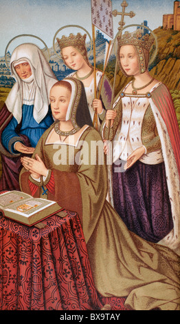 Anne of Brittany, Queen of France, 1477 - 1514, surrounded by her patron saints. - Stock Photo