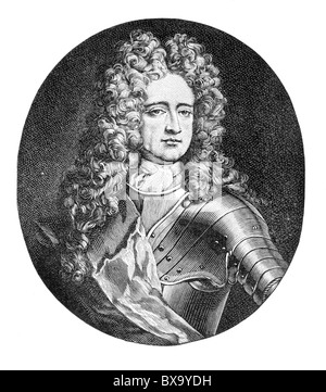 Portrait of Charles Mordaunt, 3rd Earl of Peterborough and 1st Earl of Monmouth; Black and White Illustration; - Stock Photo