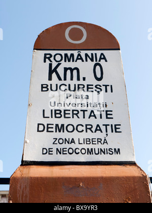 Signpost from which all distances are measured in Romania in University Square Bucharest - Stock Photo